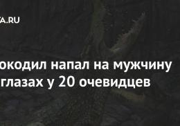 Крокодил напал на мужчину на глазах у 20 очевидцев