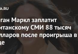Меган Маркл заплатит британскому СМИ 88 тысяч долларов после проигрыша в суде