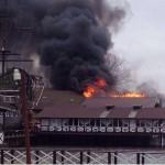Пожар в пристройке ресторана «Петровский причал» в Ростове-на-Дону