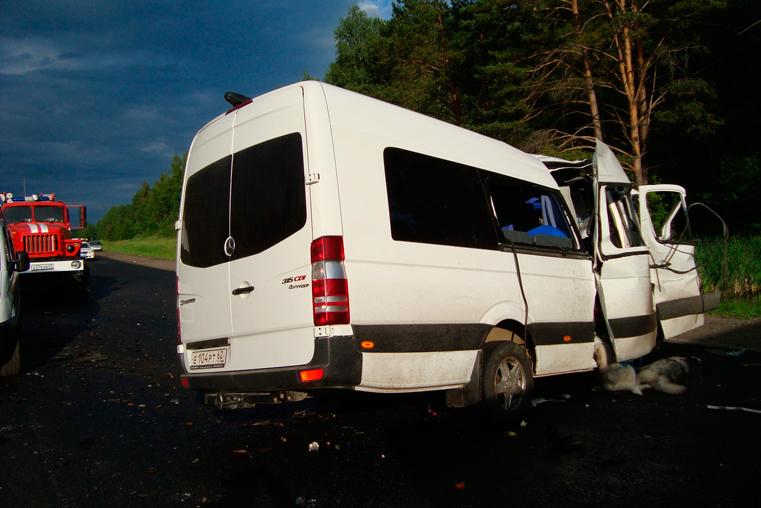 микроавтобус мерседес и грузовик авария под смоленском фото