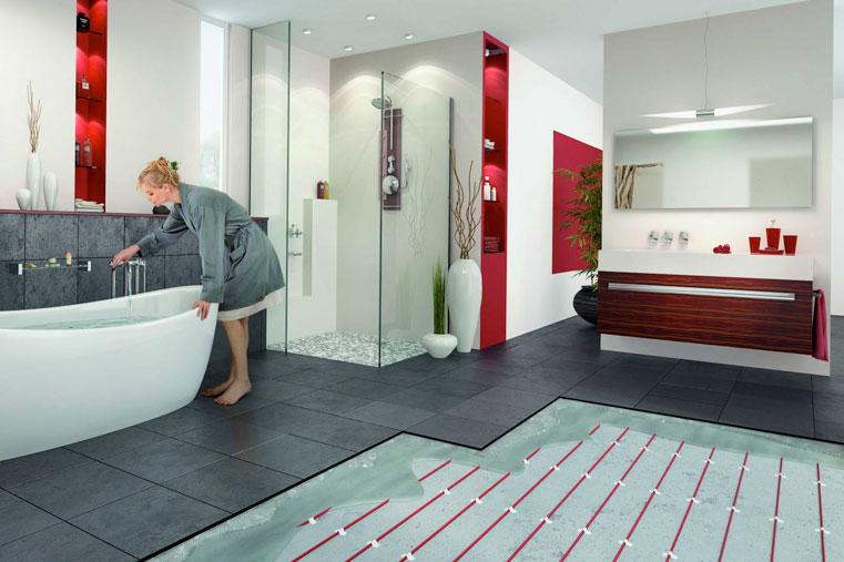 голый теплый пол в ванной комнате