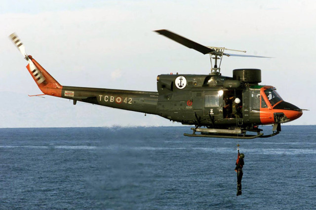 TURKISH NAVY HELICOPTER PARTICIPATES IN A RESCUE DRILL IN RELIANT MERMAID IV EXERCISES IN THE ...