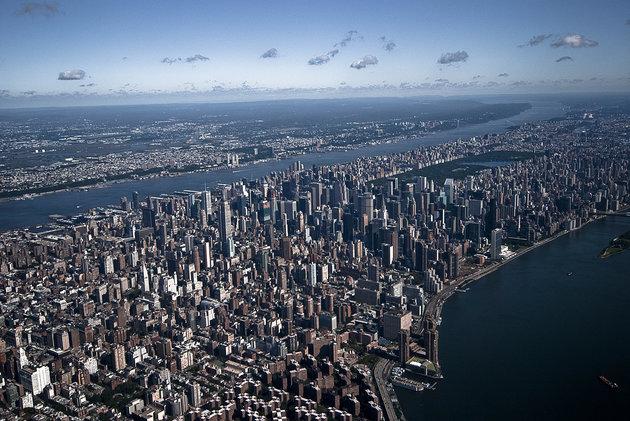 An aerial view of Manhattan shot high above New York city.