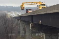 Сбежавшие с фермы козы застряли на краю моста