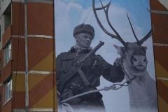 Жителей российского города поздравили с 9 Мая плакатом с финским солдатом